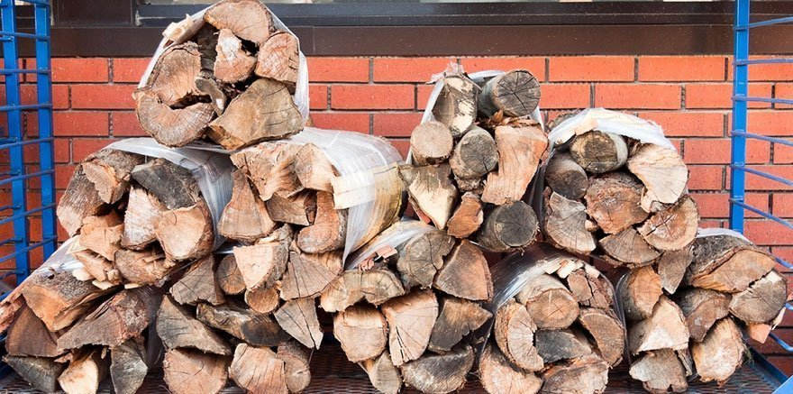 Stacked bundles of firewood on Cape Cod