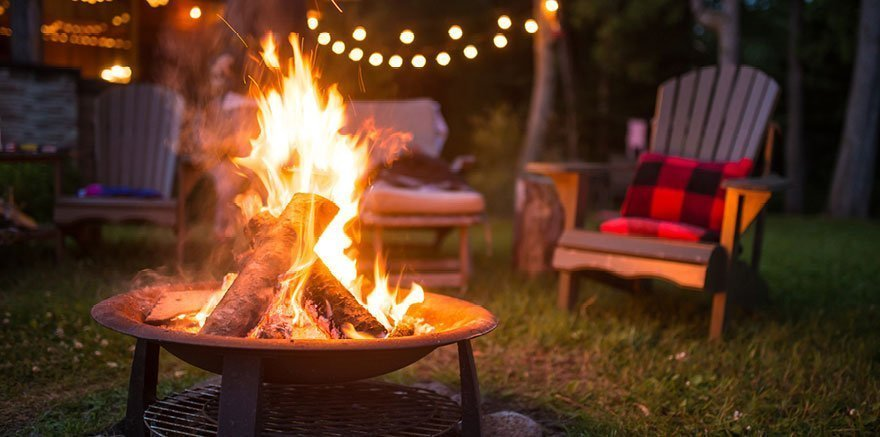 Burning Cape Cod firewood in a fire pit